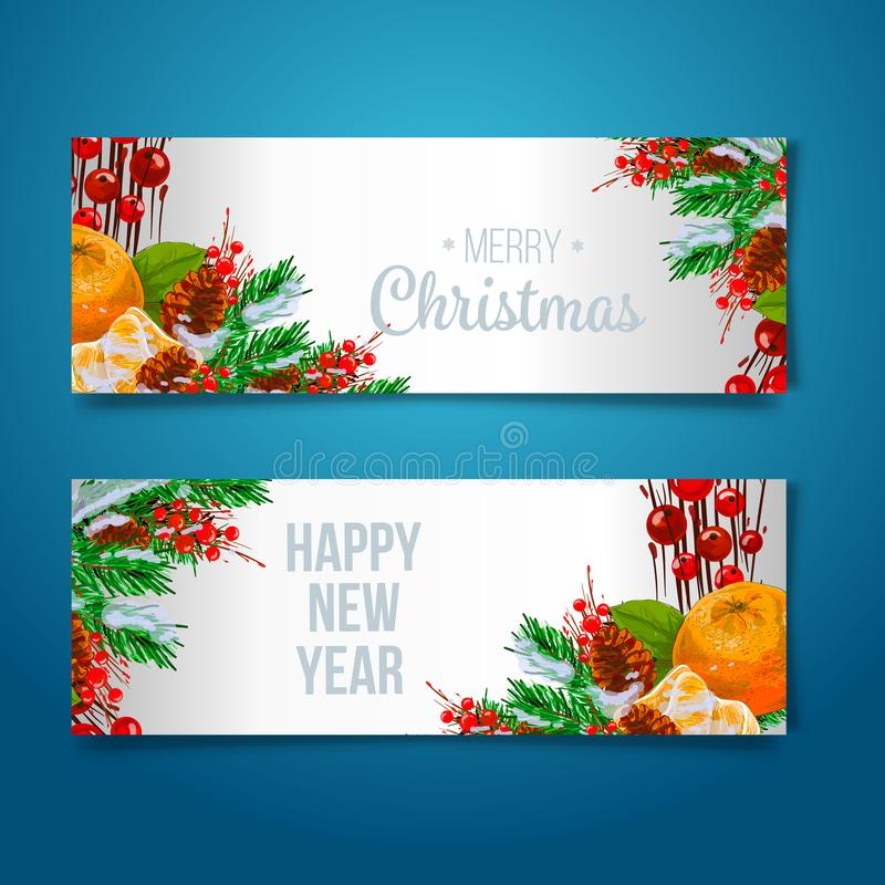 Vector holiday background with fir tree branches, ornaments and Merry Christmas letters. Hanging balls and ribbons. Isolated Chris vector illustration