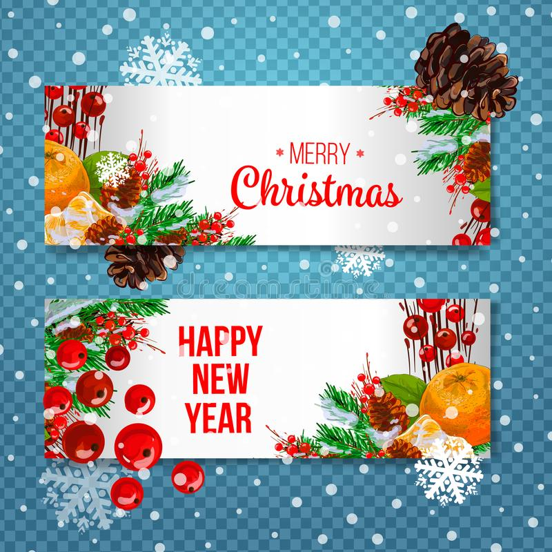 Vector holiday background with fir tree branches, ornaments and Merry Christmas letters. Hanging balls and ribbons. Isolated Chris stock illustration