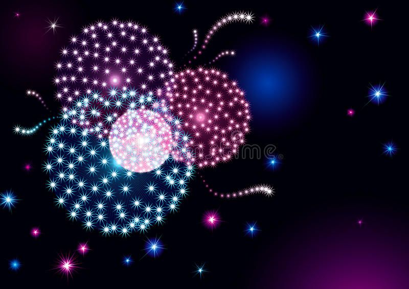 Holiday fireworks. Vector holiday background with many stars and fireworks on night dark sky stock illustration