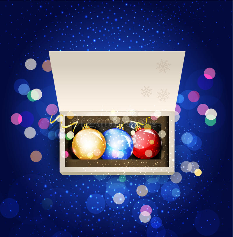 Vector holiday background with open box. And Christmas balls stock illustration