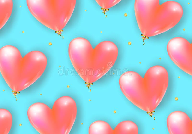 Vector holiday background with realistic 3D flying bunch of air balloon hearts and confetti particles. Trendy Valentine`s Day royalty free illustration