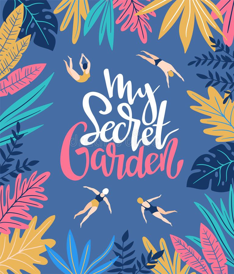 Vector holiday background in scandinavian style with tropical leaves and swimmers. Hand drawn poster. royalty free illustration