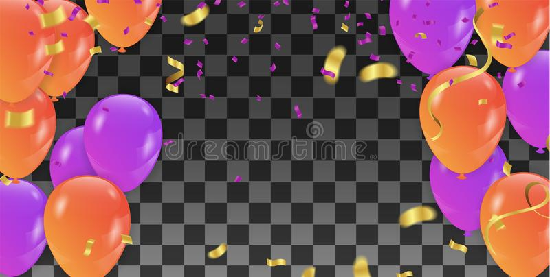 Vector holiday banner with confetti, multicolored balloons. Greeting card with colorful garlands of flags vector illustration