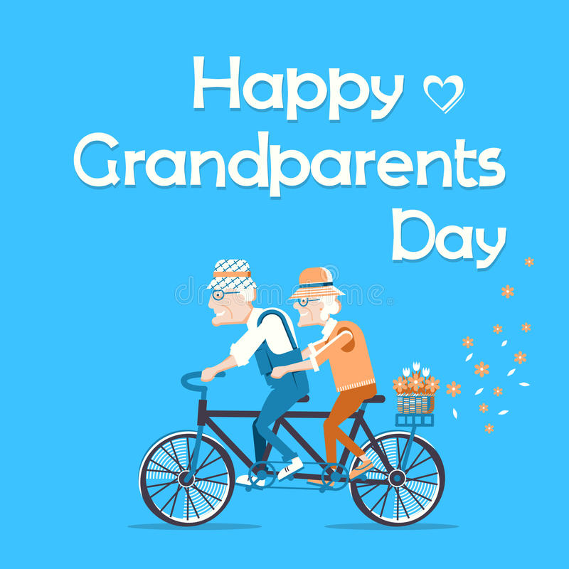 Vector holiday card with text. Grandparents drive by bike vector illustration