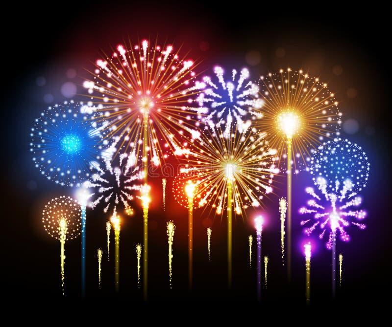 Vector holiday firework vector illustration