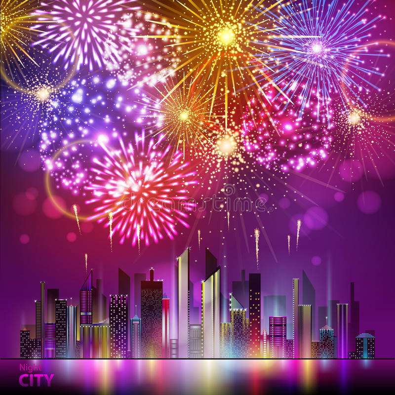 Vector holiday firework and nignt city vector illustration