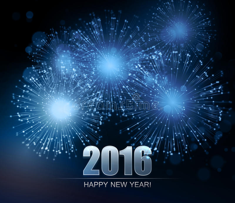 Vector Holiday Fireworks Background. Happy New Year 2016 vector illustration