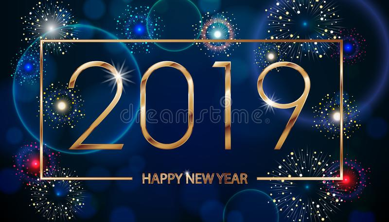Vector Holiday Fireworks Background. Happy New Year 2019. Seasons greetings, colorful fireworks text design. Vector vector illustration