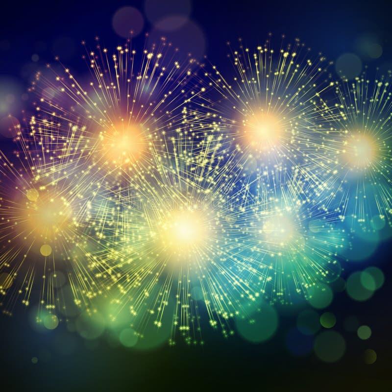 Vector Holiday Fireworks Background. Shiny Holiday Fireworks Background. Vector illustration EPS 10 royalty free illustration