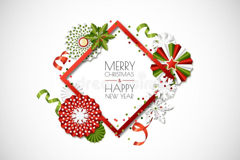 Vector holiday frame with paper stars and snowflakes in green, red colors. Merry Christmas, Happy New Year greeting card royalty free illustration