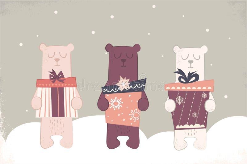 Vector holiday illustration of a cute polar bears with gift box. Winter seasonal greeting card. royalty free illustration