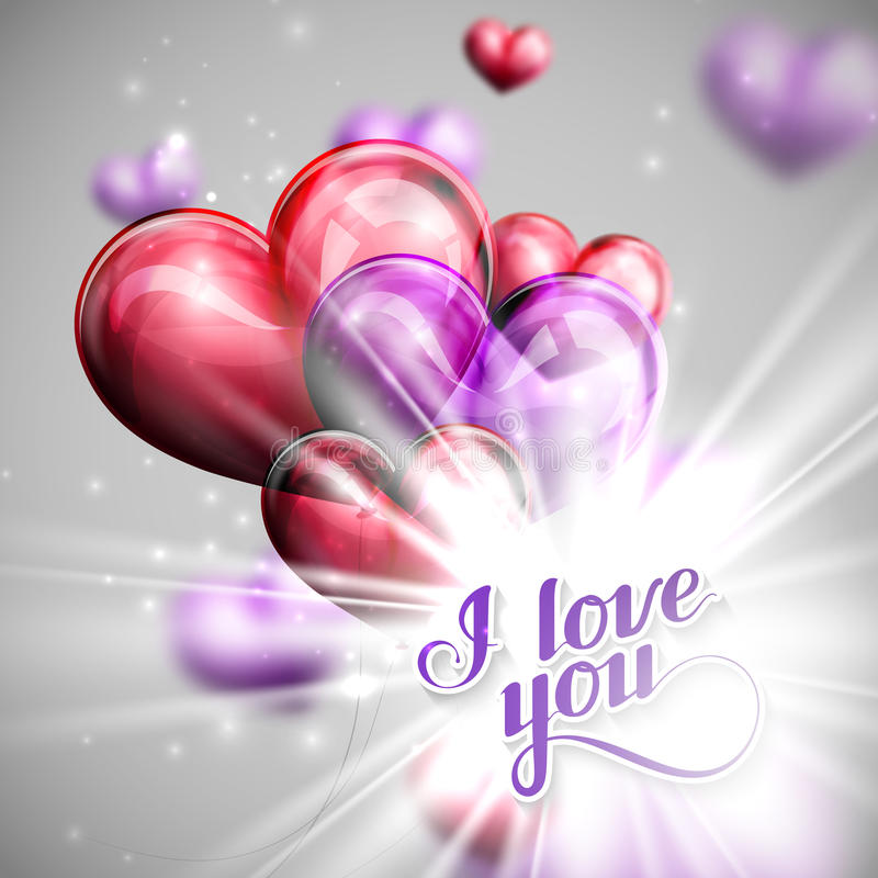 Vector holiday illustration of I love you label on the balloon hearts background with shiny burst, explosion or flash royalty free illustration