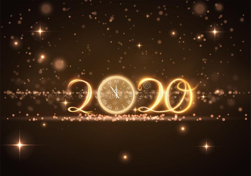 Beautiful 2020 New year greeting card background. Vector EPS10. stock illustration