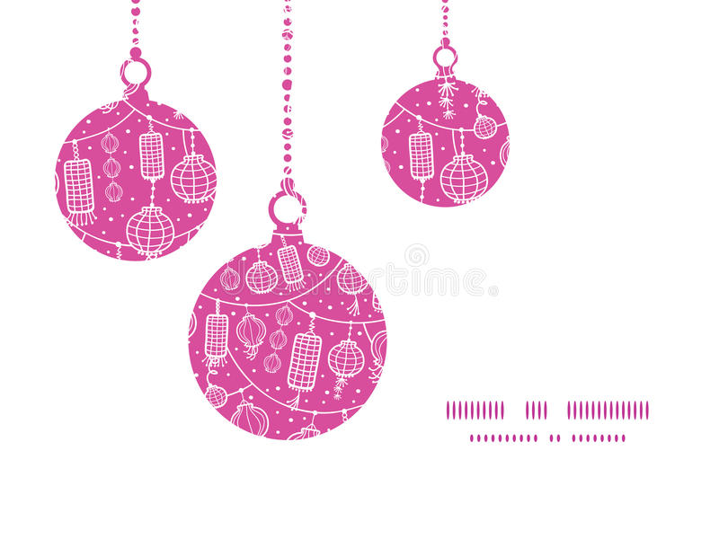 Vector holiday lanterns line art Christmas. Ornaments silhouettes pattern frame card template graphic design vector illustration