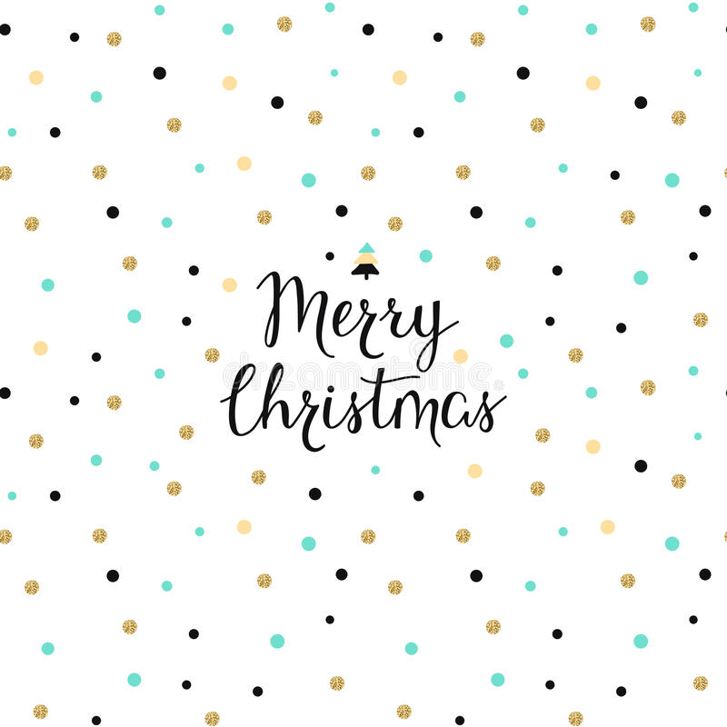 Vector holiday pretty background with hand drawn words merry Christmas. Vector holiday pretty dot background with hand drawn words merry Christmas vector illustration