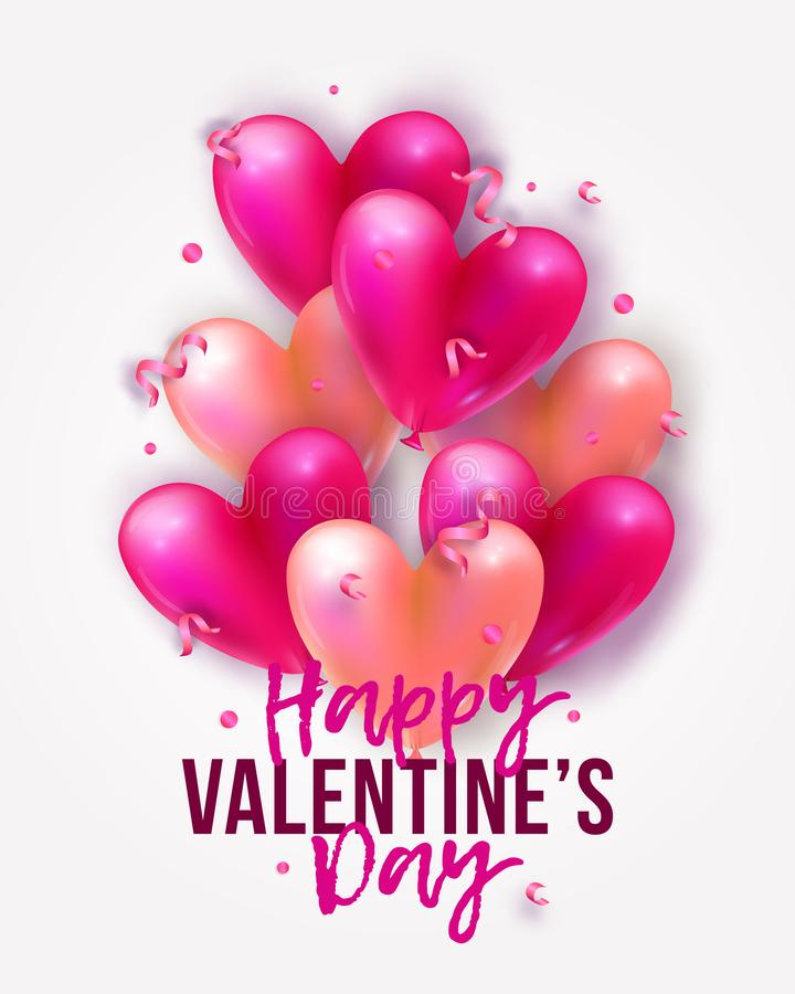 Vector holiday romantic illustration with realistic 3D flying bunch of air balloon hearts, confetti and ribbons. Valentine`s Day royalty free illustration