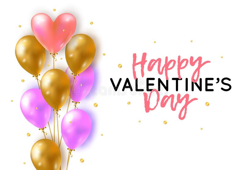 Vector holiday romantic illustration with realistic 3D flying bunch of air balloon hearts, confetti. Trendy Valentine`s Day vector illustration