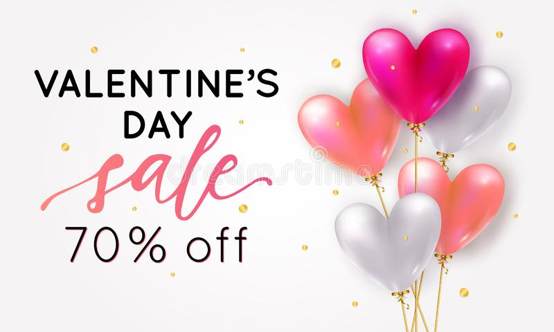 Vector holiday romantic sale illustration with realistic 3D flying bunch of air balloon hearts, confetti. Trendy Valentine`s Day royalty free illustration