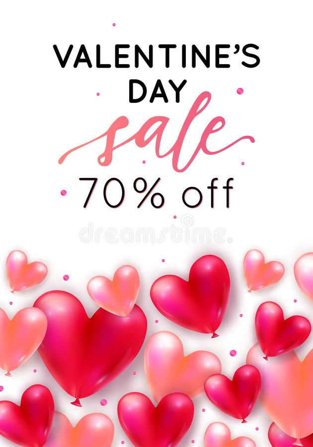 Vector holiday romantic sale illustration with realistic 3D flying bunch of air balloon hearts, confetti. Trendy Valentine`s Day vector illustration