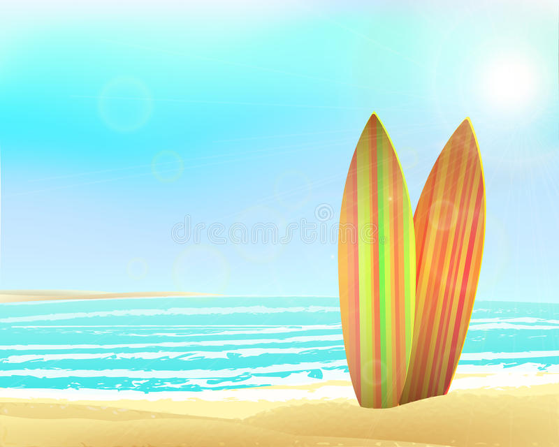 Vector holidays vintage design - surfboards on a. Beach against a sunny seascape. Eps 10 vector illustration