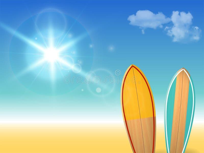 Vector holidays vintage design - surfboards on a beach against a sunny seascape stock illustration