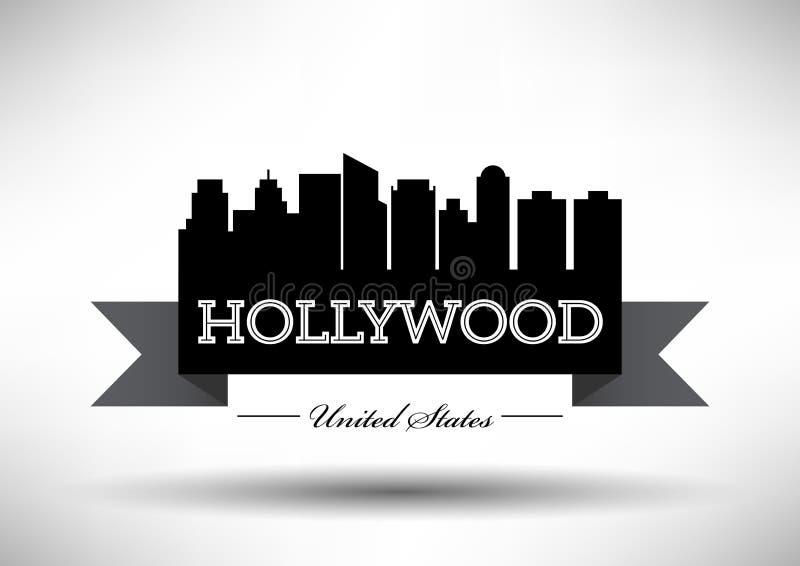 Vector Hollywood City Skyline Design stock illustration