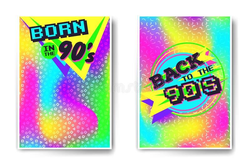 Vector holografische affichemalplaatjes 90 ` s royalty-vrije illustratie