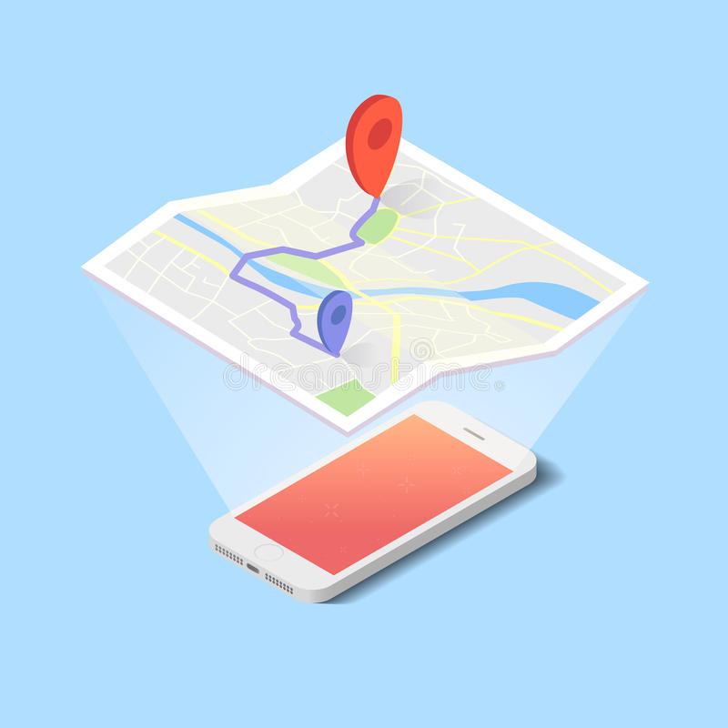 Vector hologram of map with navigation on the smartphone. In flat design stock illustration