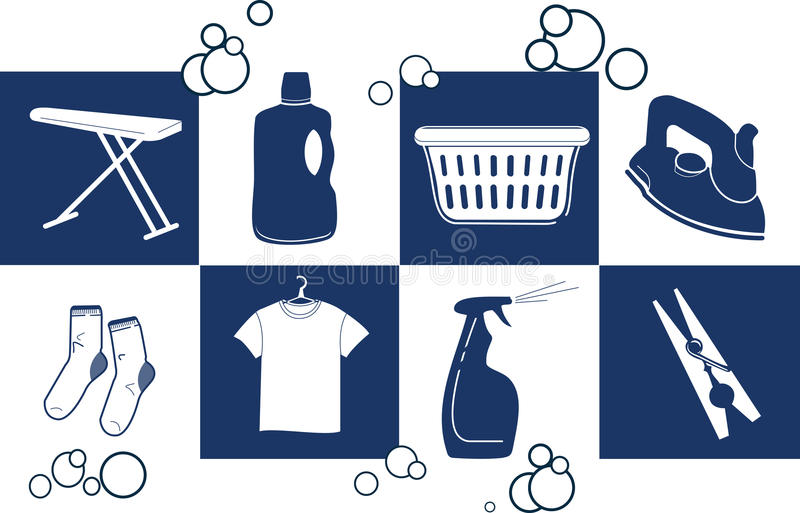 Vector Home Icons 1. Laundry home icons. Perfect for advertisements, fliers or any professional personal design work stock illustration