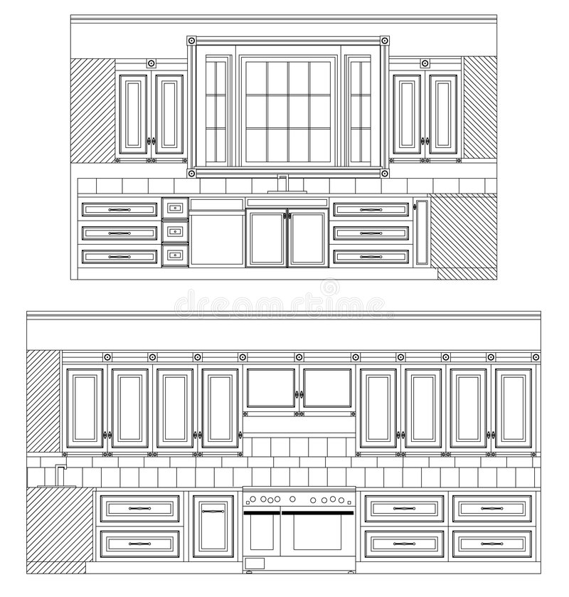 Vector Home Kitchen Drawing