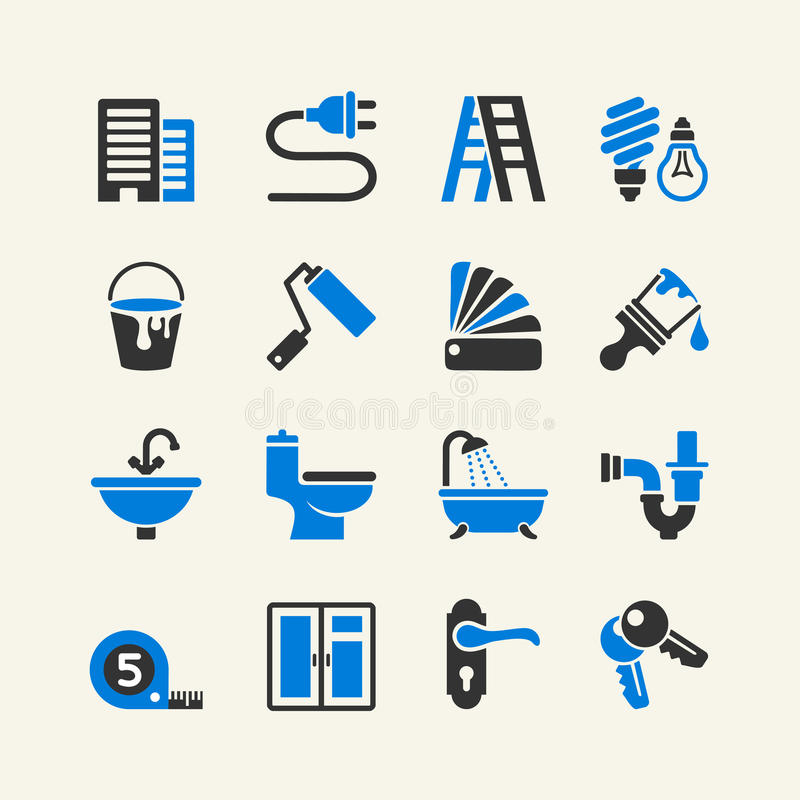 Vector home repairs icon collection stock illustration