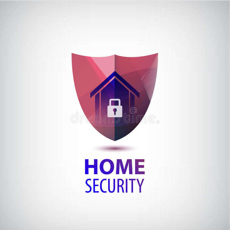 Vector home security logo. 3d red shield with house and lock. royalty free illustration