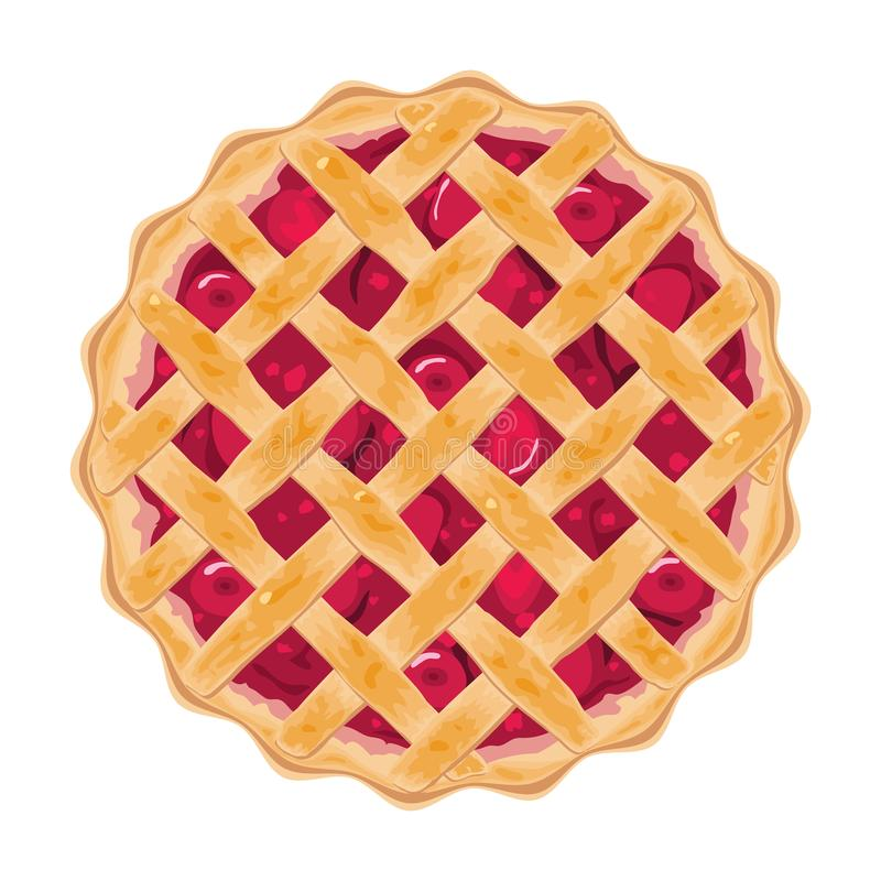 Vector homemade fruit and berry pie. For christmas, thanksgiving and all kinds of holidays. strawberry crostata tart isolated on white background. top view of royalty free illustration