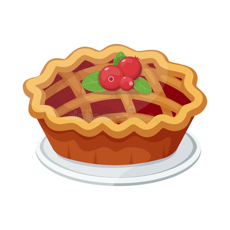 Vector homemade fruit and berry pie for christmas, thanksgiving and all kinds of holidays. Strawberry crostata tart isolated on white background. top view of vector illustration
