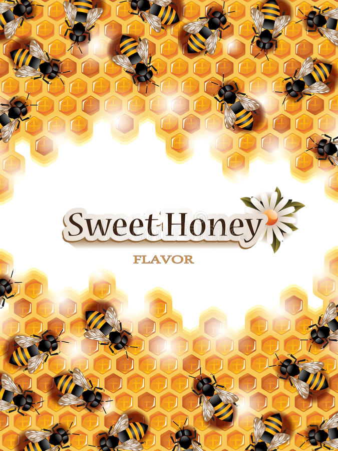 Vector Honey Background with Busy Bees Working on Honeycomb. Vector illustration of a honey background with busy bees working on honeycomb and space for text vector illustration