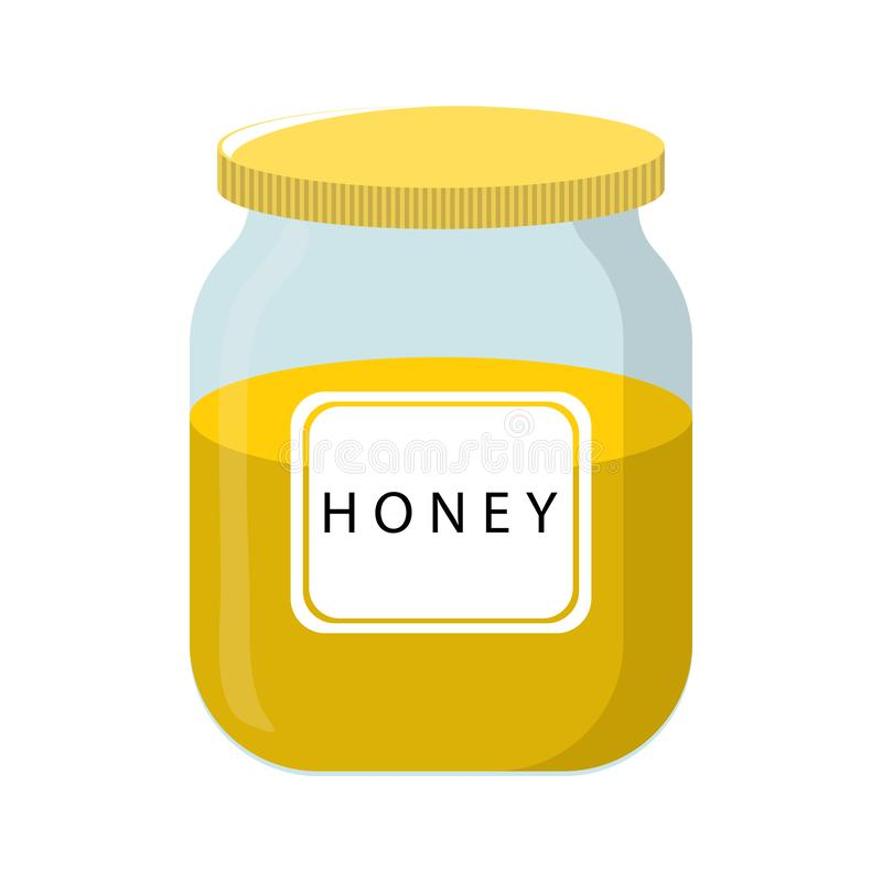 Vector Honey Bank isolated on white backgroud. Natural Healthy Food Production Honey. Vector illustration for Your Design. stock illustration