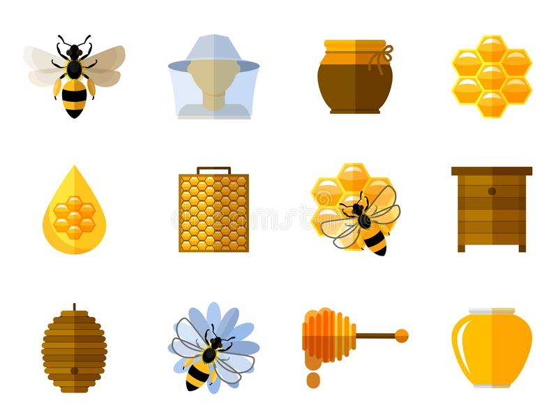 Vector honey and bee icons in flat set vector illustration