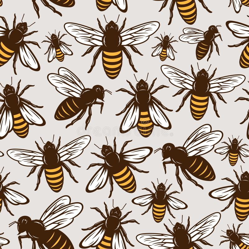 Vector honey bee seamless pattern or background stock illustration