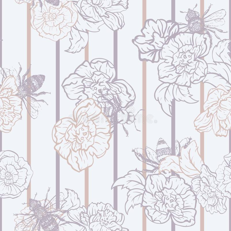 Vector Honey Bees with Roses on Stripes seamless pattern background. royalty free illustration