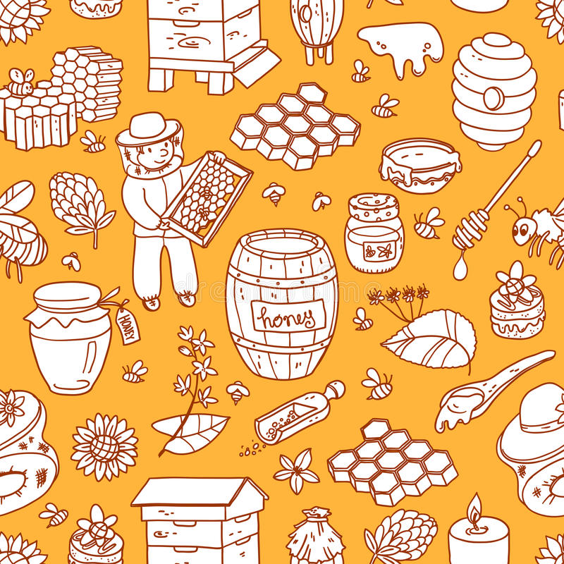 Vector honey element doodle seamless pattern with beehive, beeke royalty free illustration
