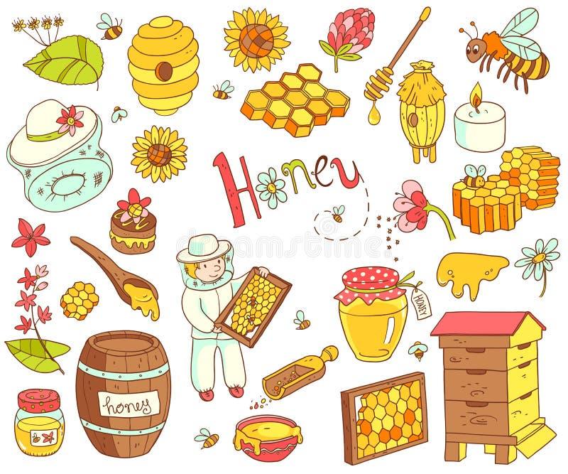 Vector honey element doodle set with beehive, beekeeper, flowers stock illustration