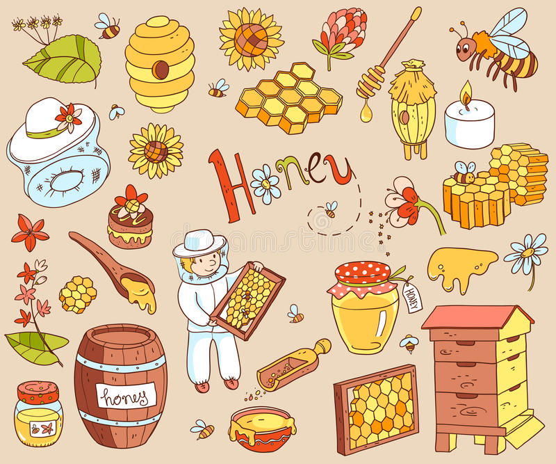 Vector honey element doodle set with beehive, beekeeper, flowers royalty free illustration