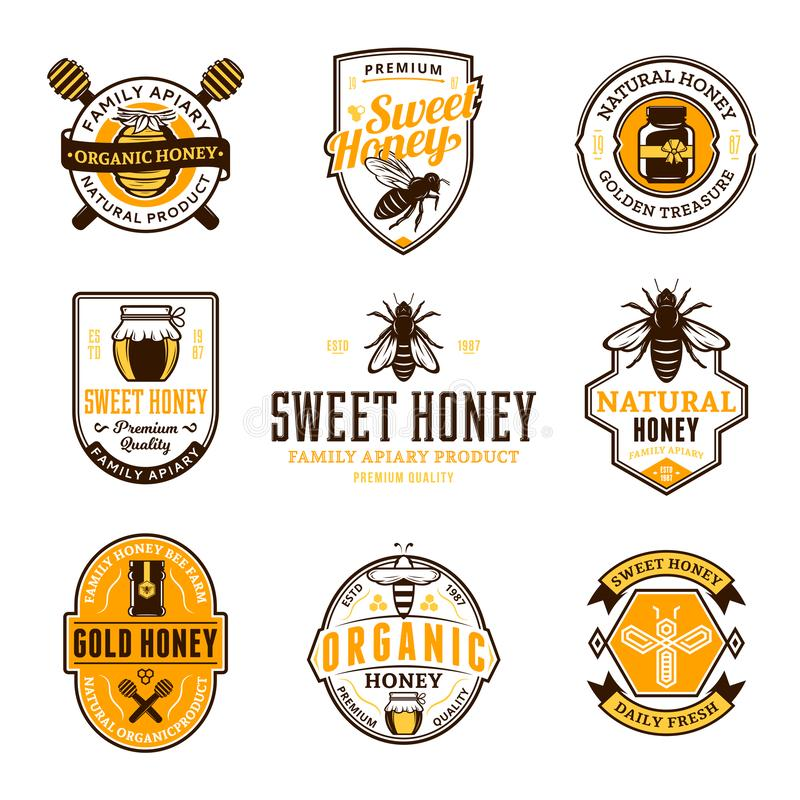 Vector honey logo, icons and design elements vector illustration