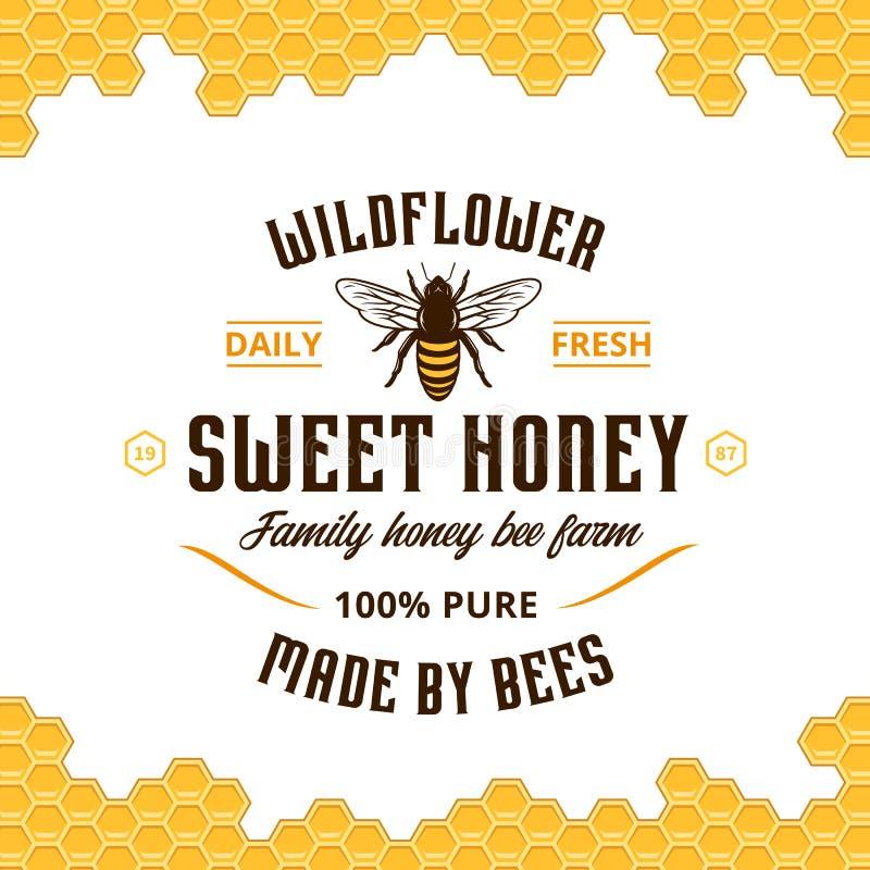 Vector honey vintage logo stock illustration