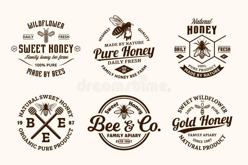Vector honey vintage logo royalty free illustration