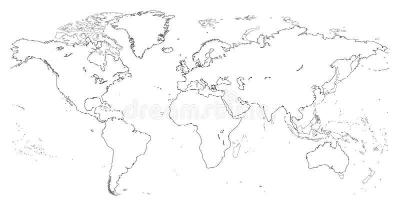 Vector hoog gedetailleerd overzicht van wereldkaart royalty-vrije illustratie