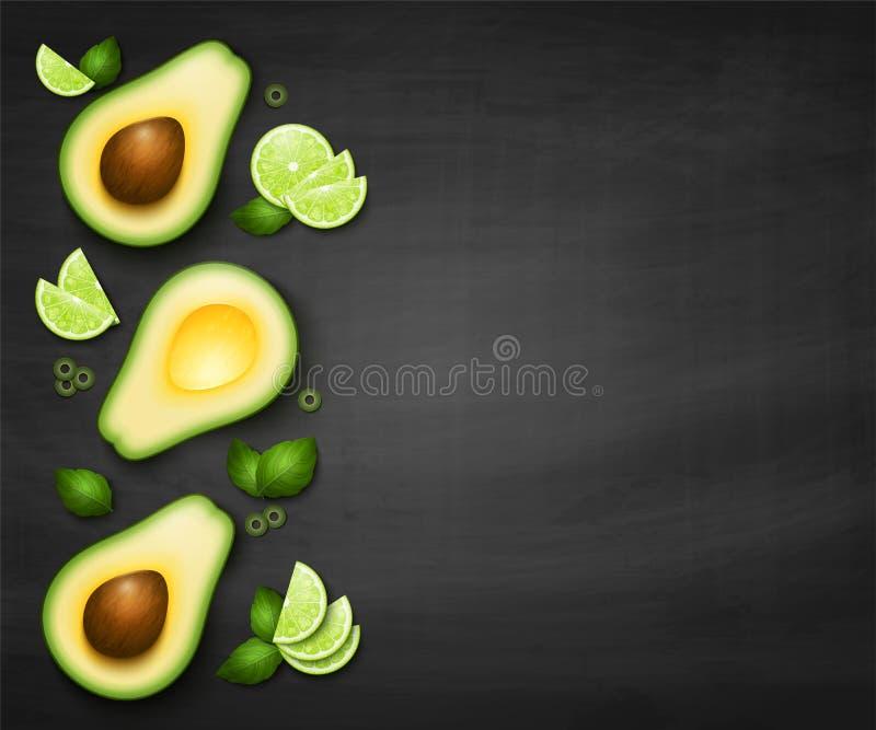 Vector hoogste meningsachtergrond met realistische avocado vector illustratie