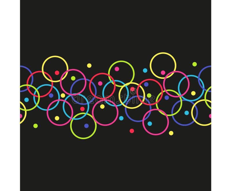 Vector horizontaal naadloos patroon van cirkels stock illustratie