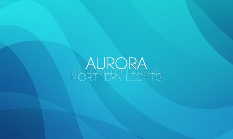 Vector horizontal abstract Backgrounds of Northern Lights, Aurora Borealis in blue color. royalty free illustration