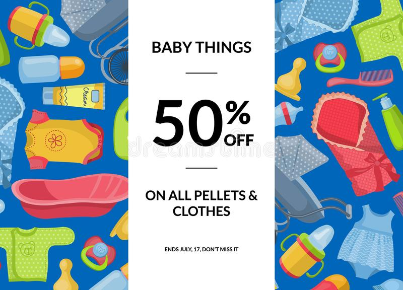 Vector horizontal baby clothes and accessories sale illustration vector illustration